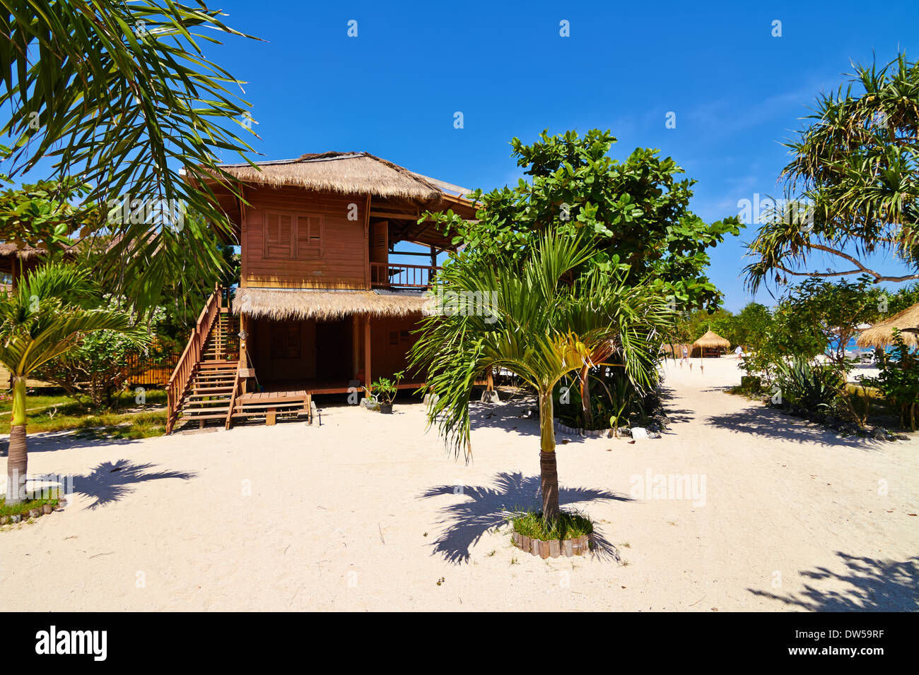 Tropical Beach Bungalow On Ocean Shore Gili Meno Lombok Indonesia