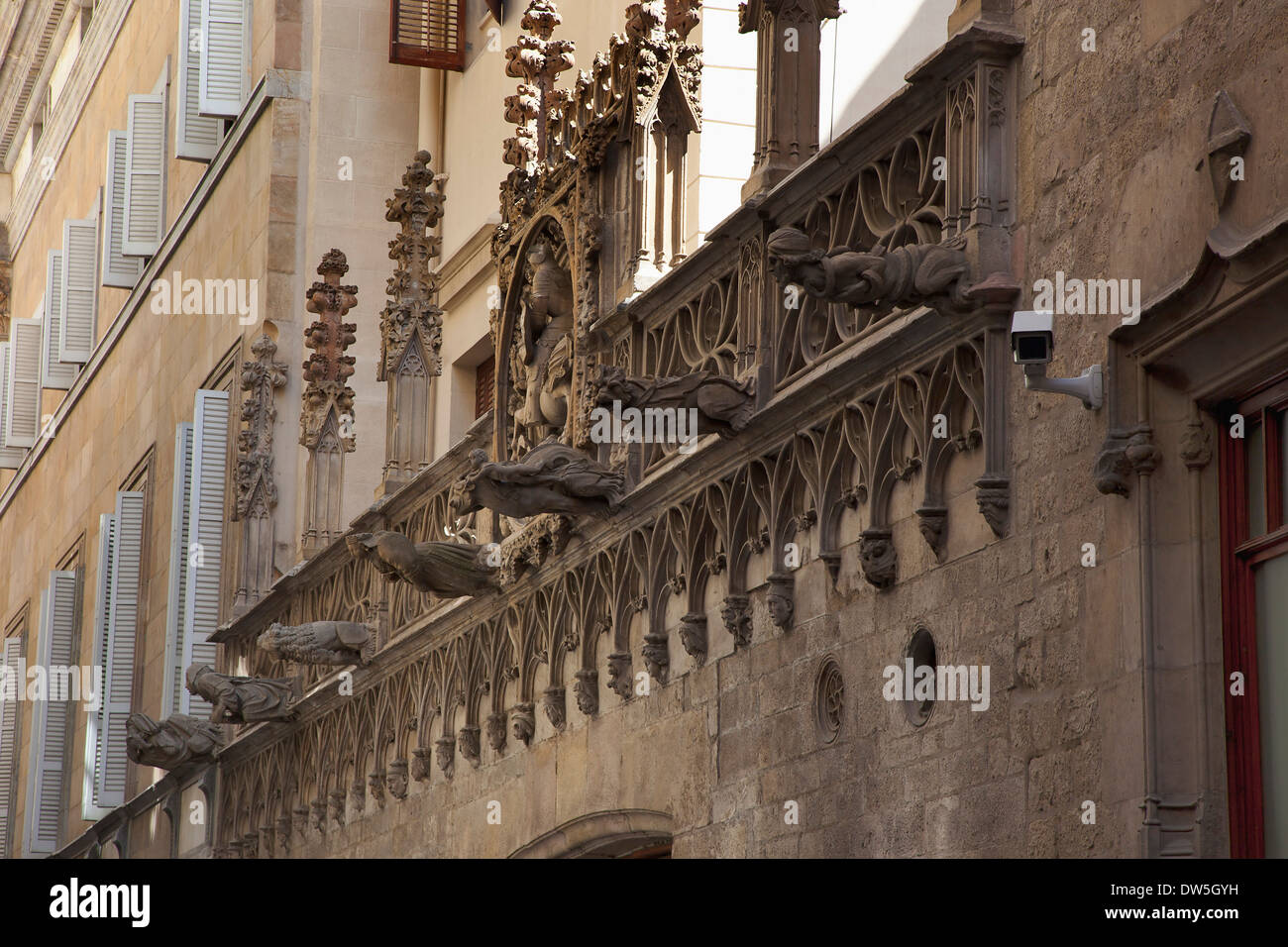 Spain Catalonia Barcelona Gargoyles On A Building In The Gothic District