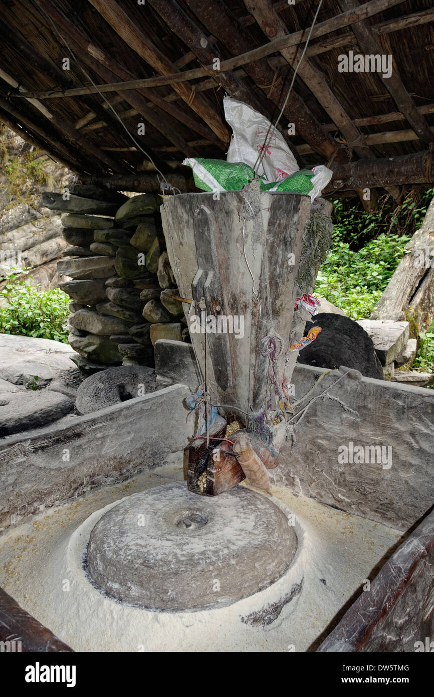 Making corn flour using a water powered grinding mill in the making corn flour using a water powered grinding mill in the village of dobhan nepal ccuart Images