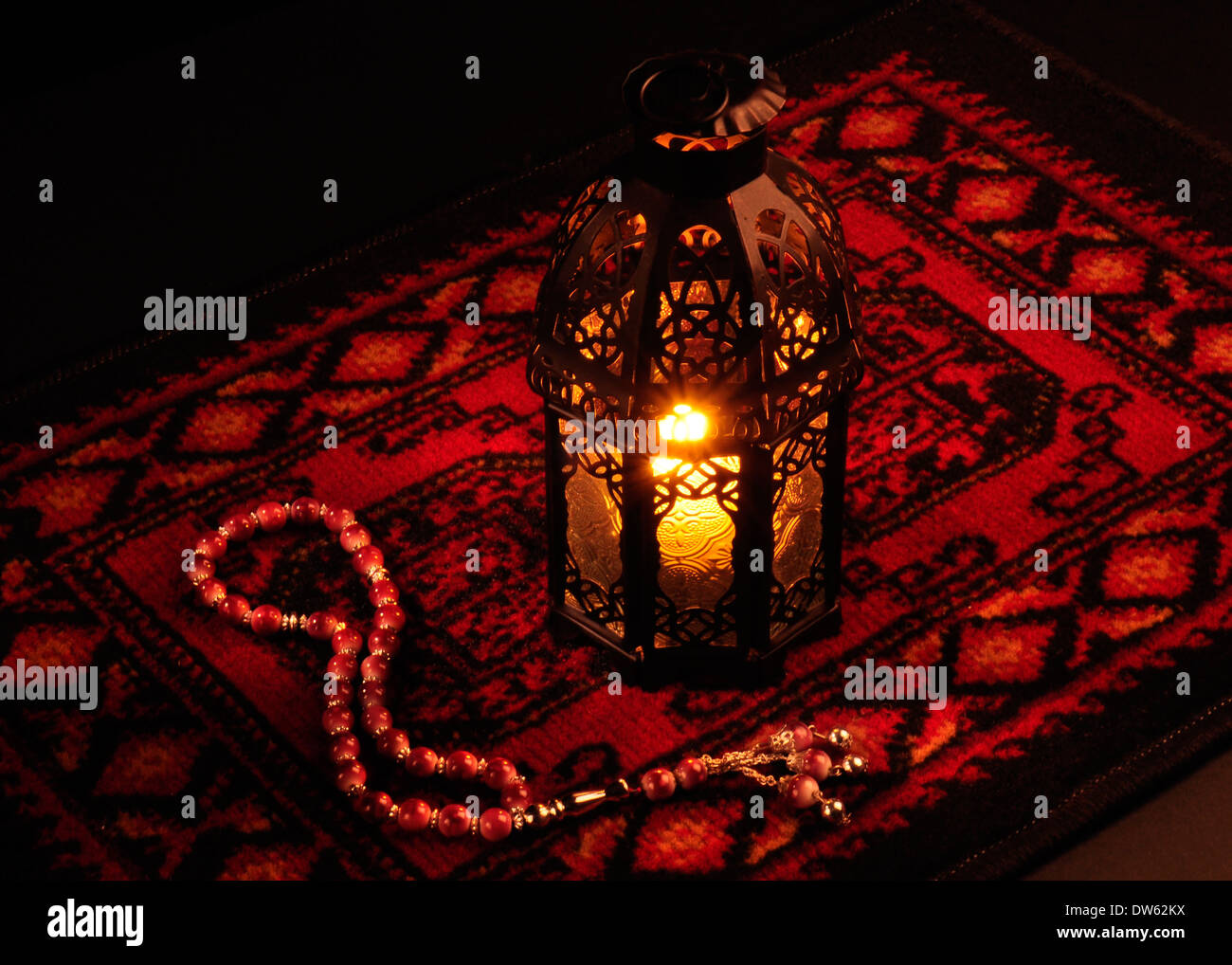 Arabic lantern on red carpet with wooden rosary Stock Photo ... for Traditional Arabic Lamp  557yll