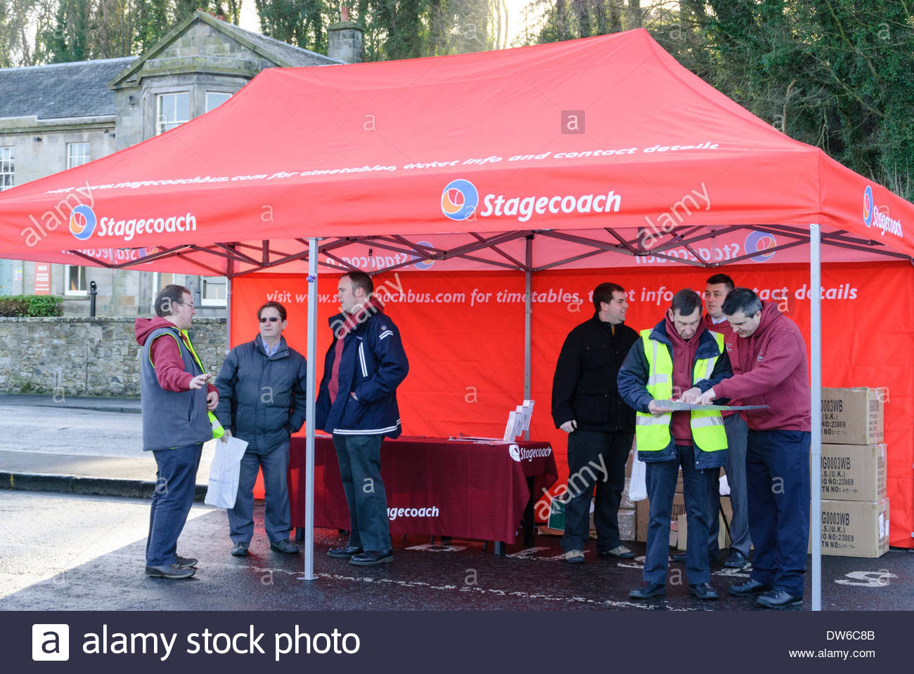 Stagecoach staff manning information tent during launch event of in South Queensferry UK. 1st March 2014. Credit Roger & South Queensferry UK. 1st March 2014. Stagecoach staff manning ...