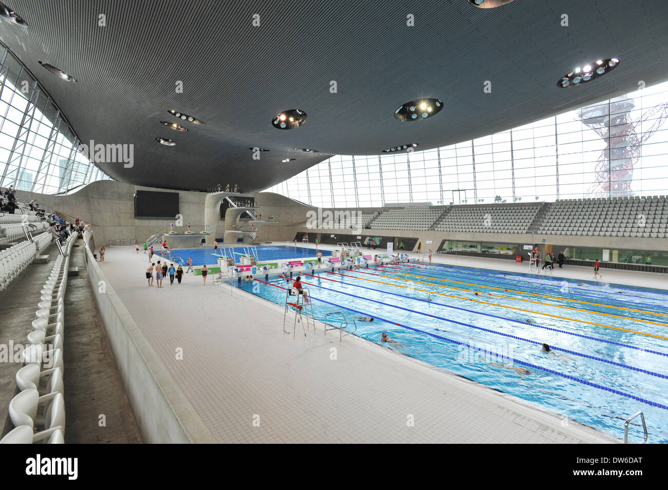 Queen Elizabeth Olympic Park, Stratford, London, UK. 1st March 2014. The Olympic  Pool In The Aquatic Centre At The Queen Elizabeth Olympic Park In Stratford  ...
