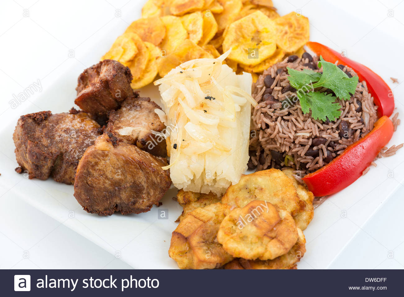Plate of the traditional cuban cuisine fried pork congri for Authentic cuban cuisine