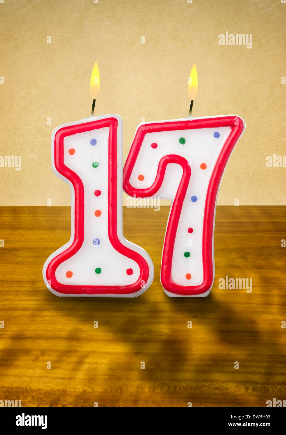 Burning Birthday Candles Number 17 Stock Photo Royalty