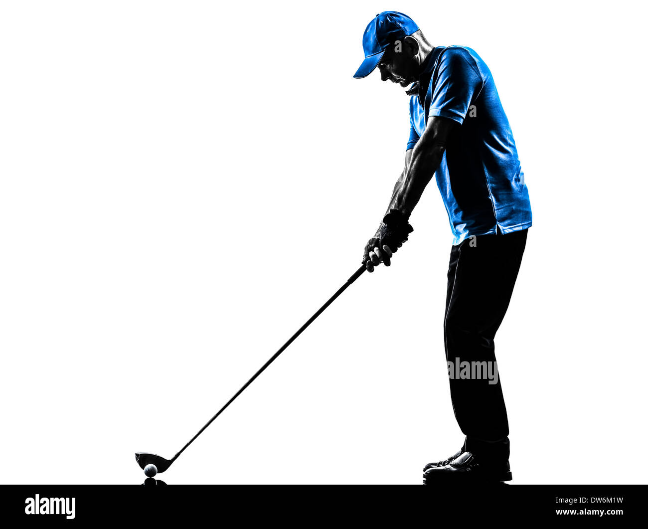 stock photo one man golfer golfing golf swing in silhouette studio isolated on white background