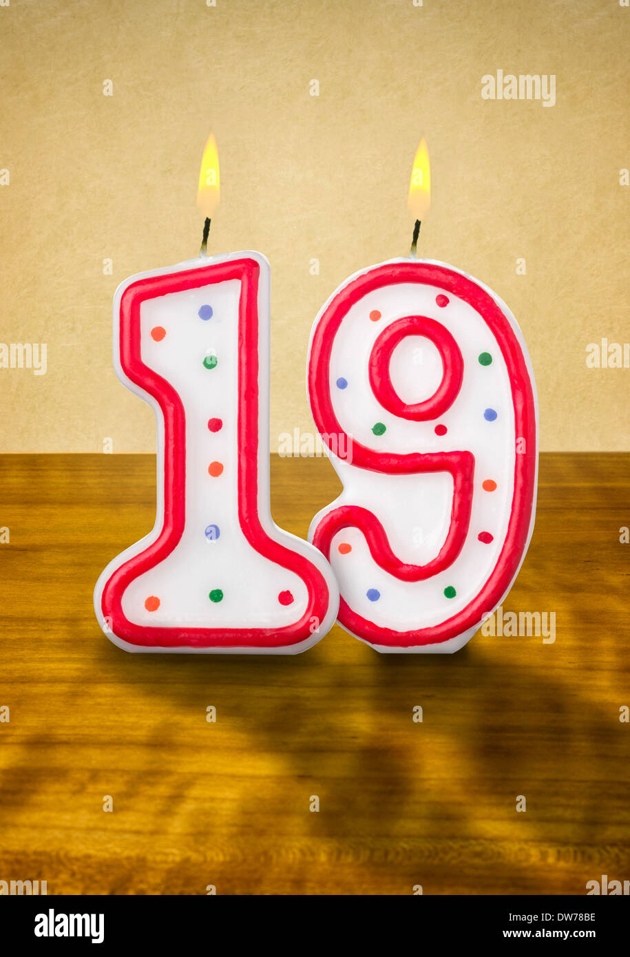Burning Birthday Candles Number 19 Stock Photo Royalty