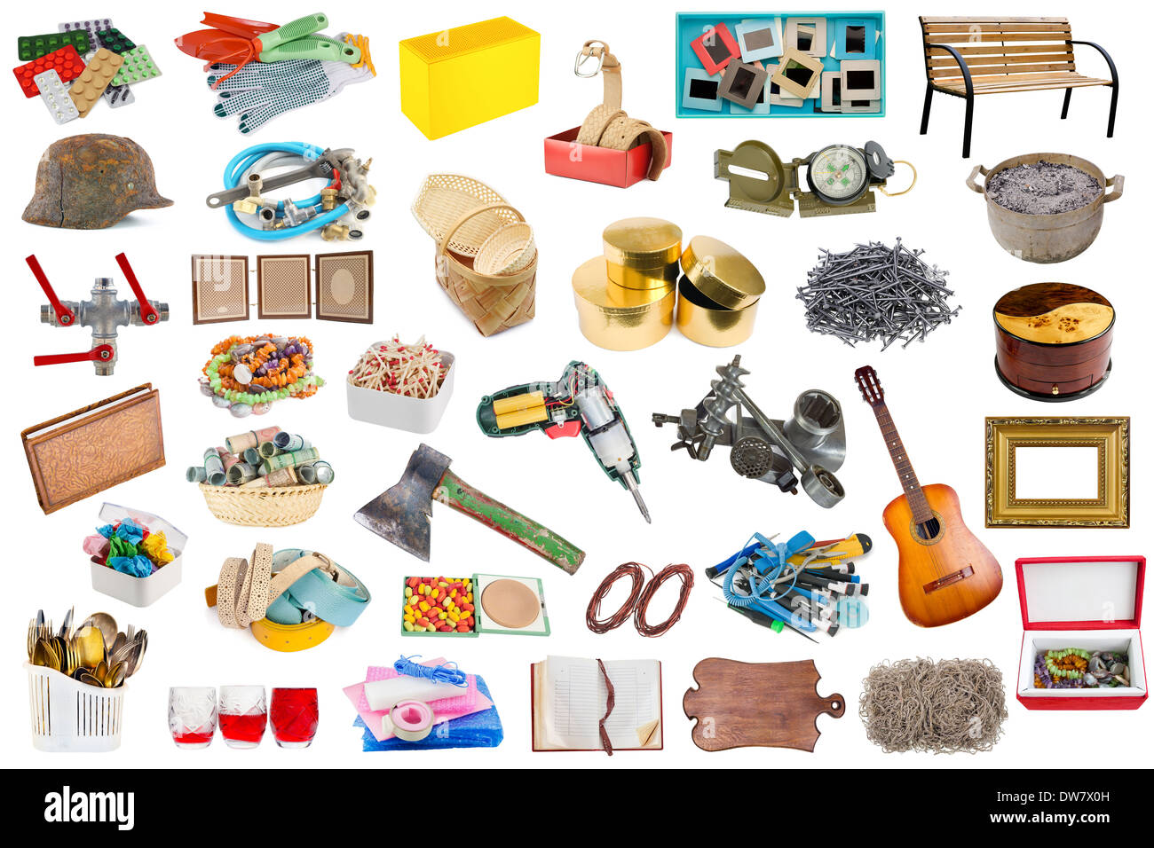 Simple common household objects and tools isolated set for Minimalist house items