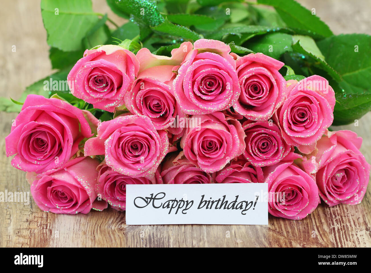 Happy birthday card with bouquet of pink roses Photo – Birthday Greetings with Roses