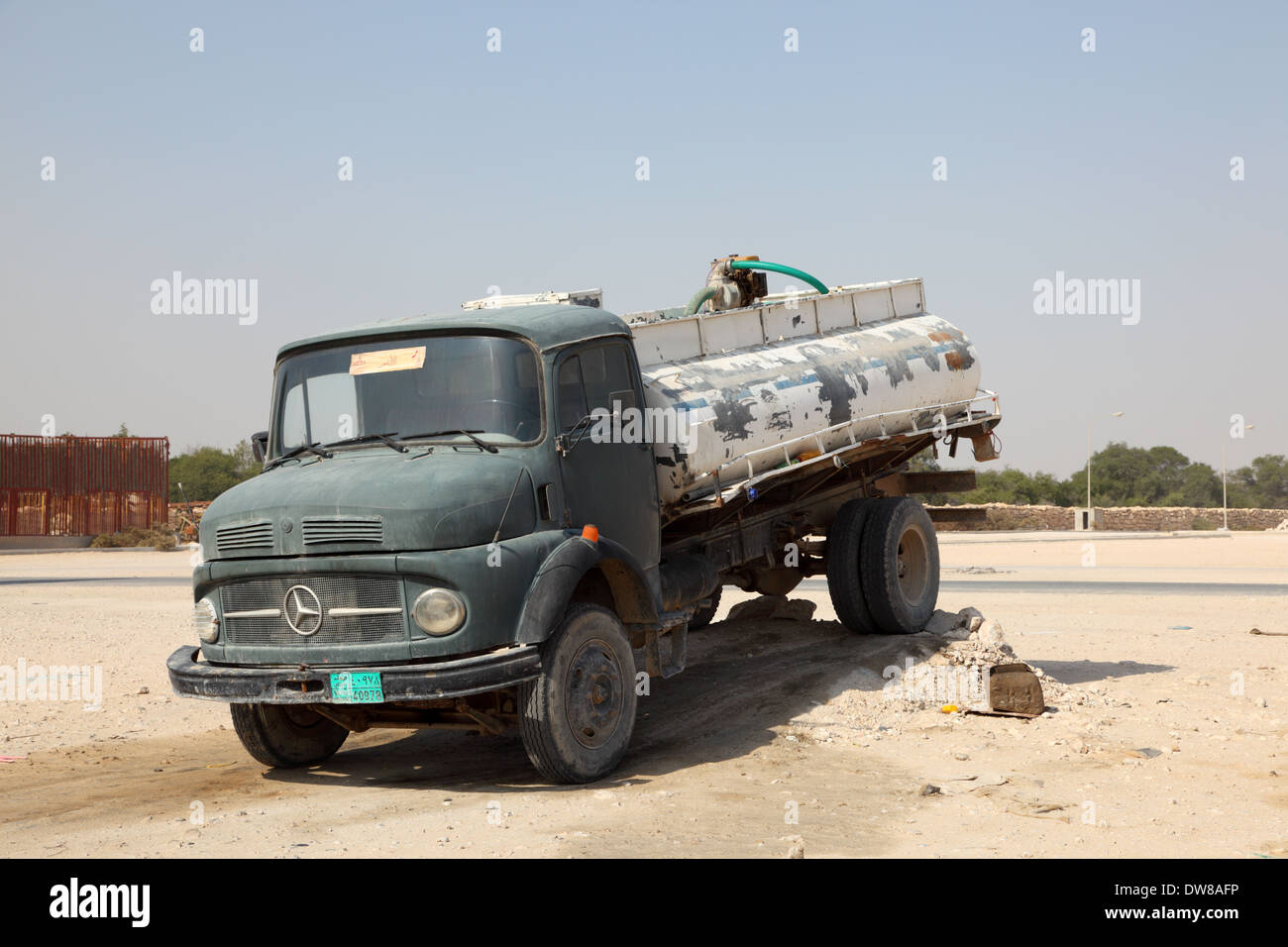 Old mercedes benz water truck in qatar middle east stock for Mercedes benz qatar