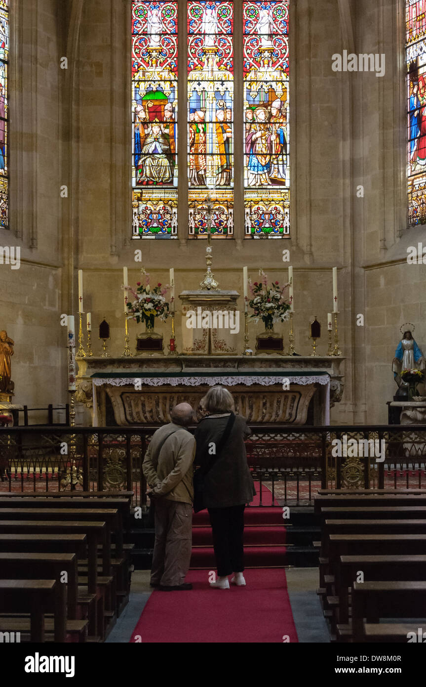 Middle-aged Couple Inside Saint Eloi Church In Bordeaux, France ...