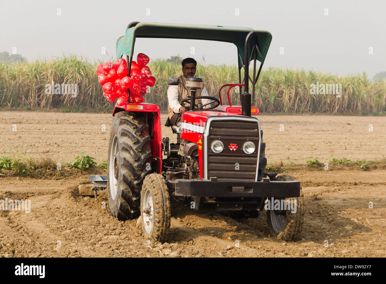 1 Indian farmer driving tractor in Plowed field Stock ...