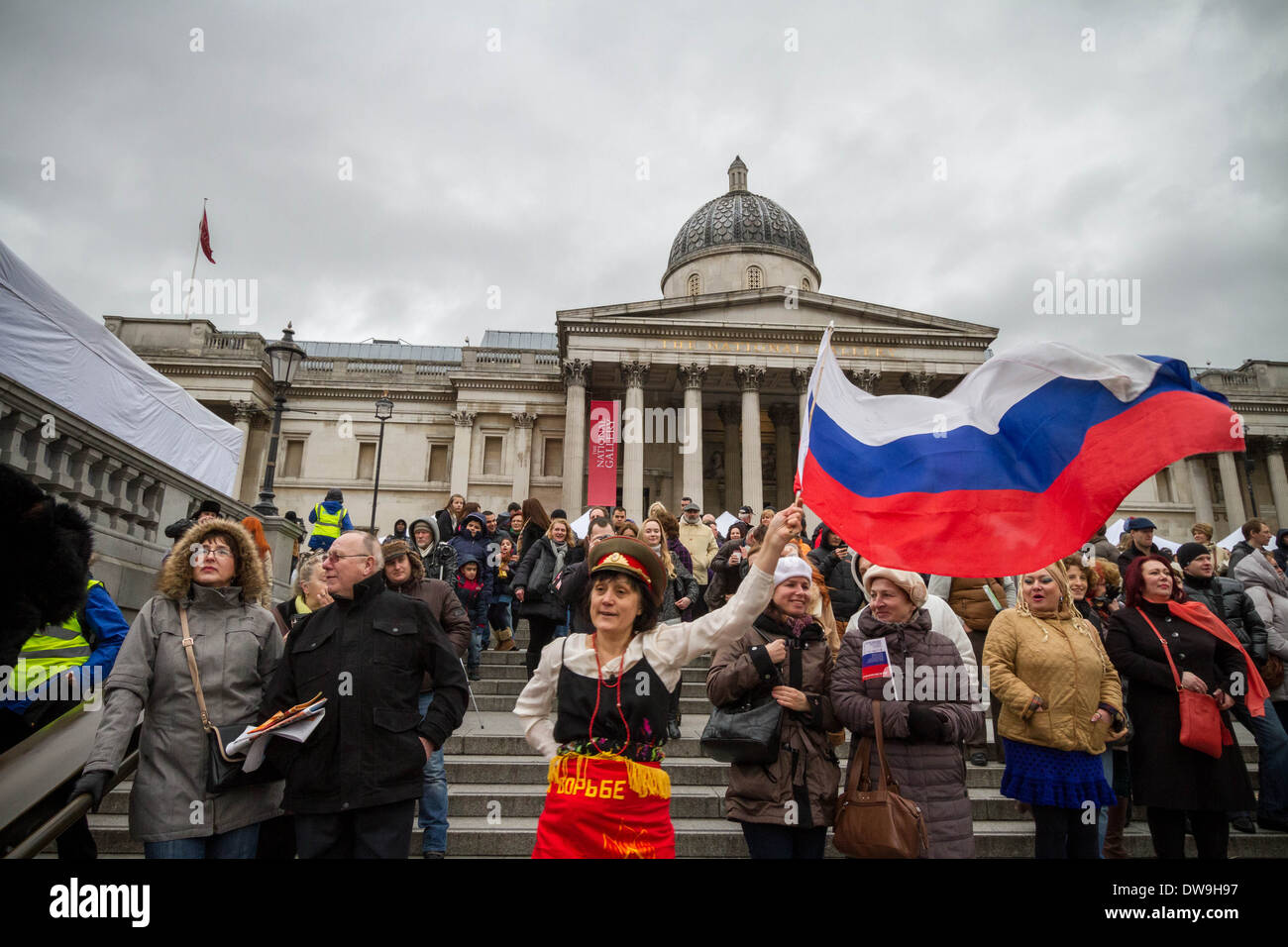 spectator with flag of russia in the crowd for russian maslenitsa