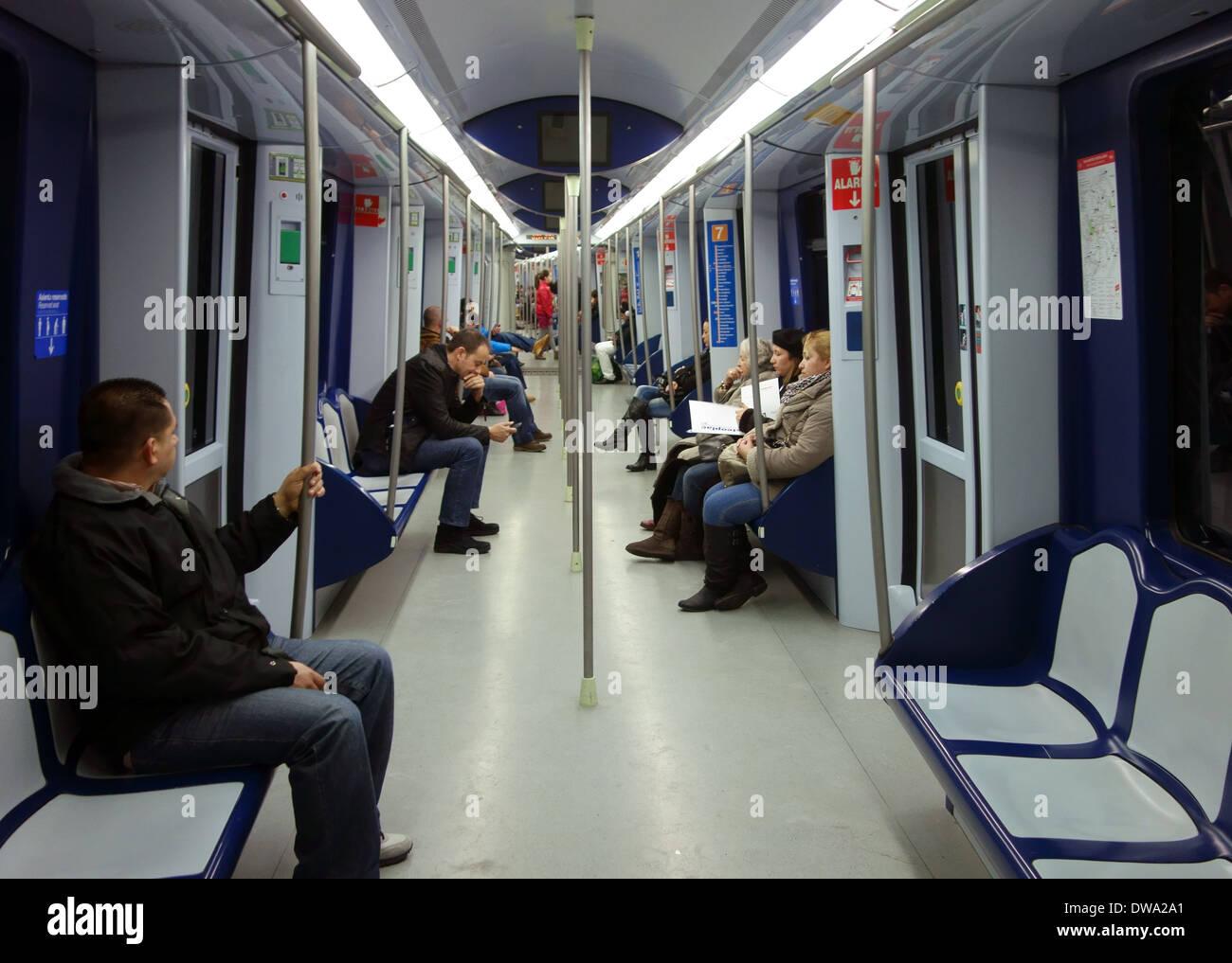 Interior of metro train carriage in madrid spain stock photo royalty free image 67218873 alamy - Carrage metro ...