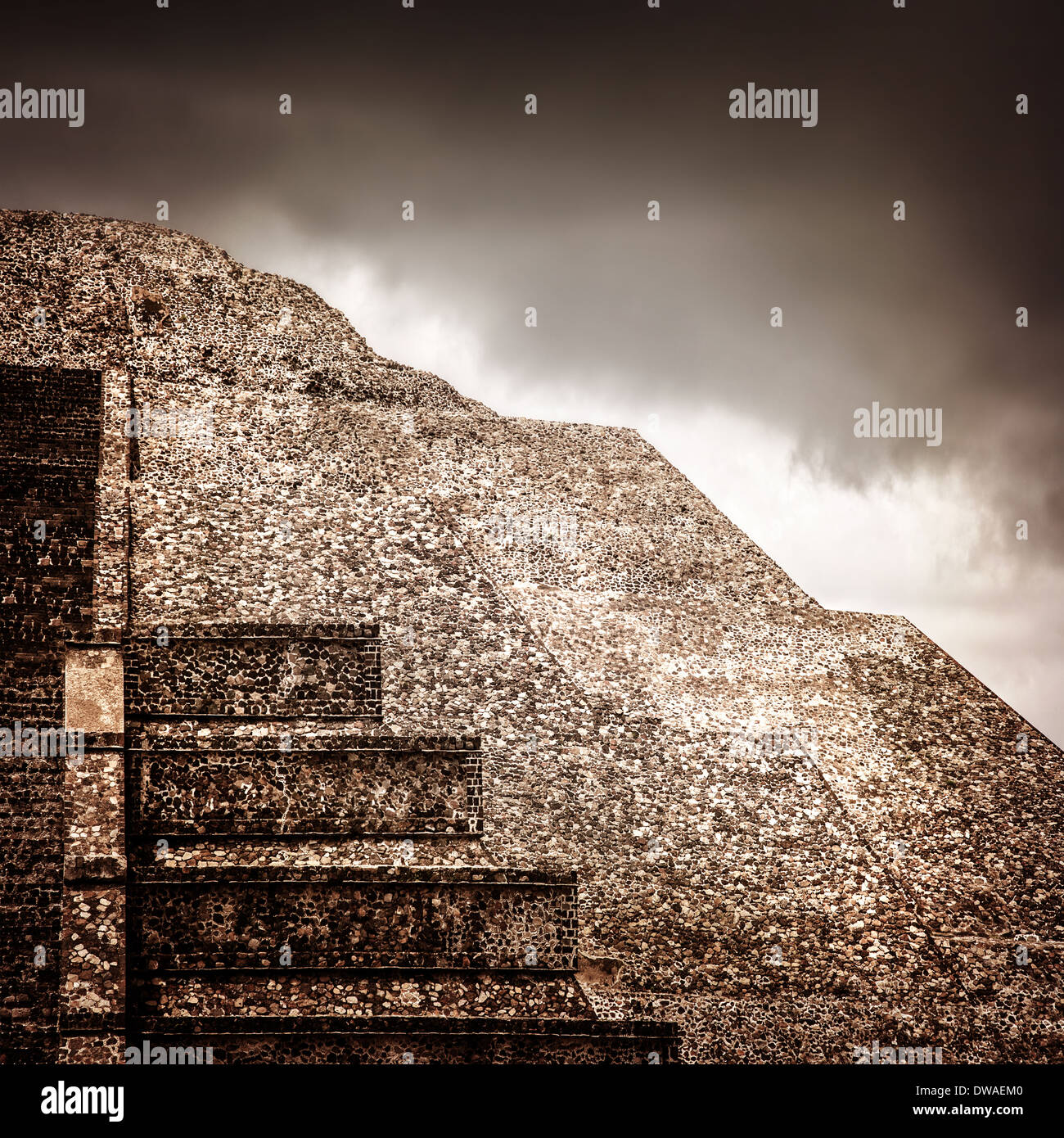 Famous Mexican Pyramid Ancient Religious Ruins On North America Overcast Weather Cloudy Sky Pre Columbian Architecture