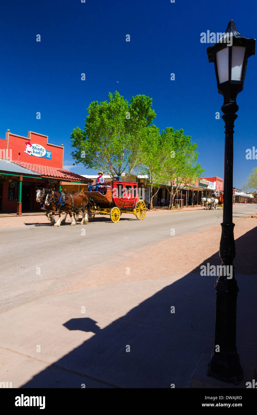 Lamp post and stage coach on main sreet tombstone arizona usa lamp post and stage coach on main sreet tombstone arizona usa arubaitofo Images