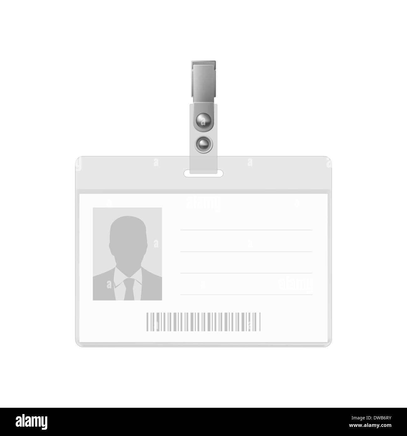 Blank horizontal badge on white background. Identification card ...