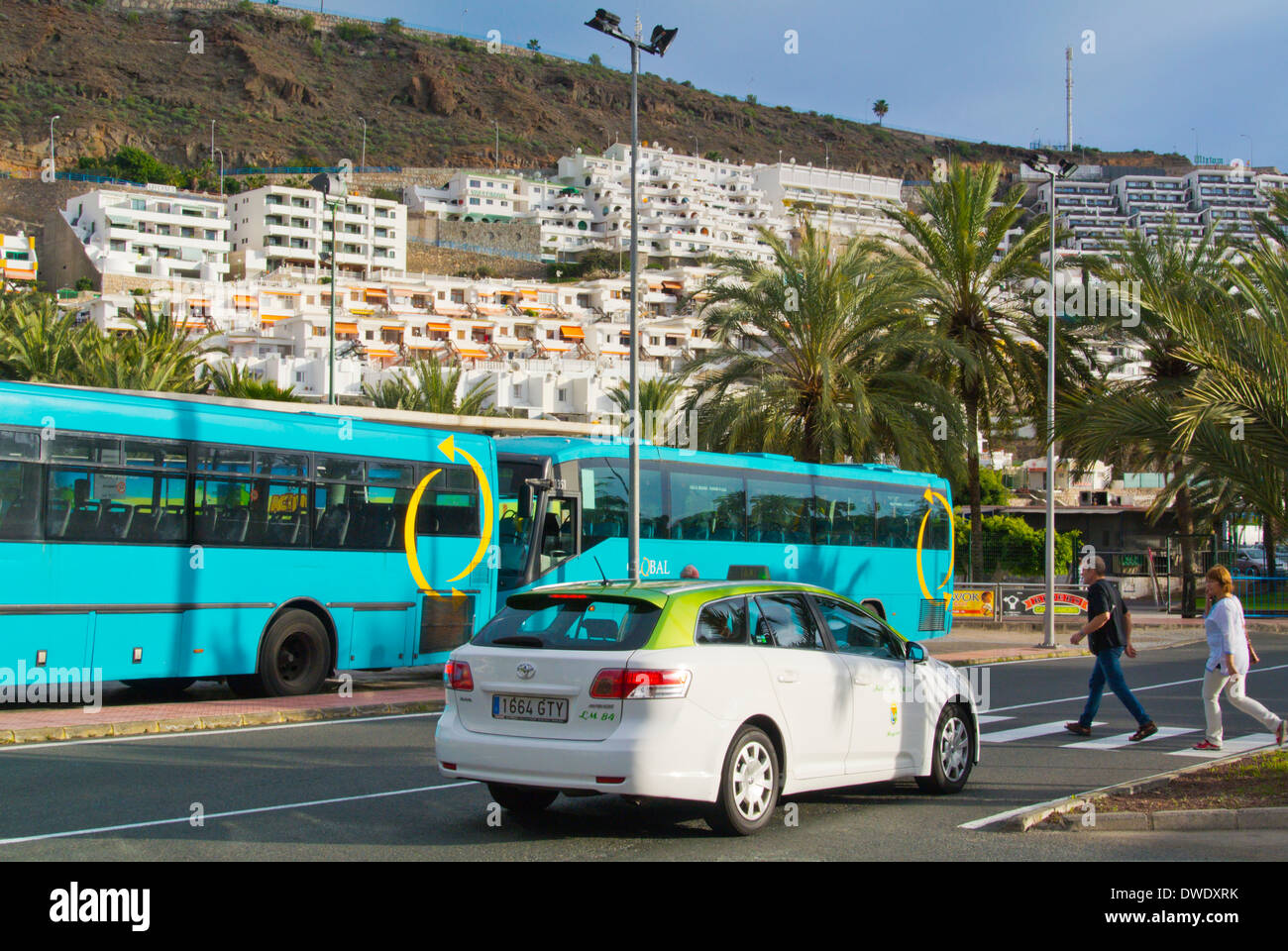 Taxi and bus long distance bus station puerto rico gran canaria stock photo royalty free - Taxi puerto rico gran canaria ...