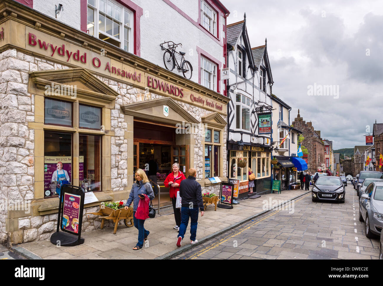 Shops On High Street Conwy North Wales Uk Stock Photo