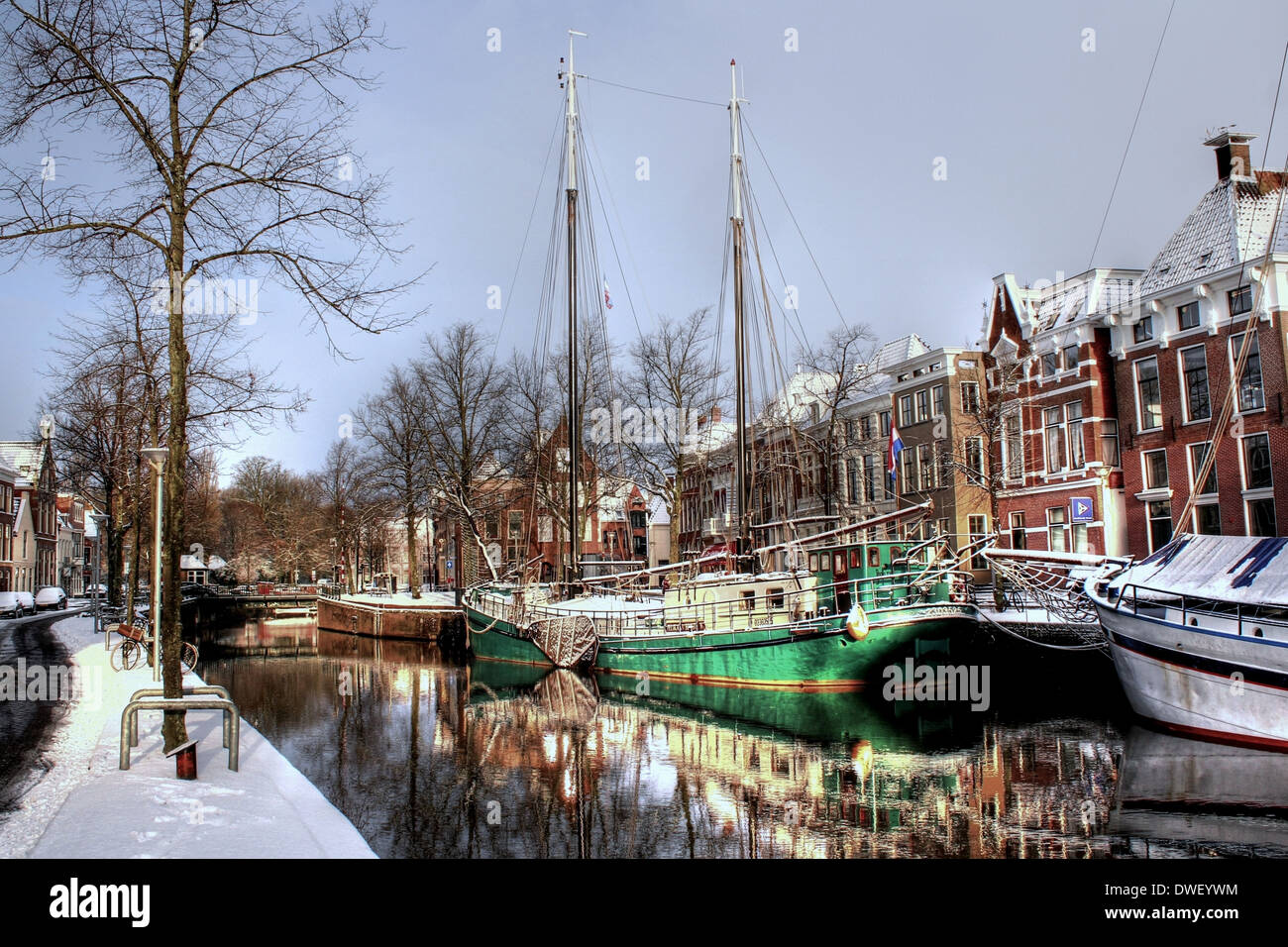 canal at hoge der a in groningen the netherlands in winter setting stock photo royalty free. Black Bedroom Furniture Sets. Home Design Ideas