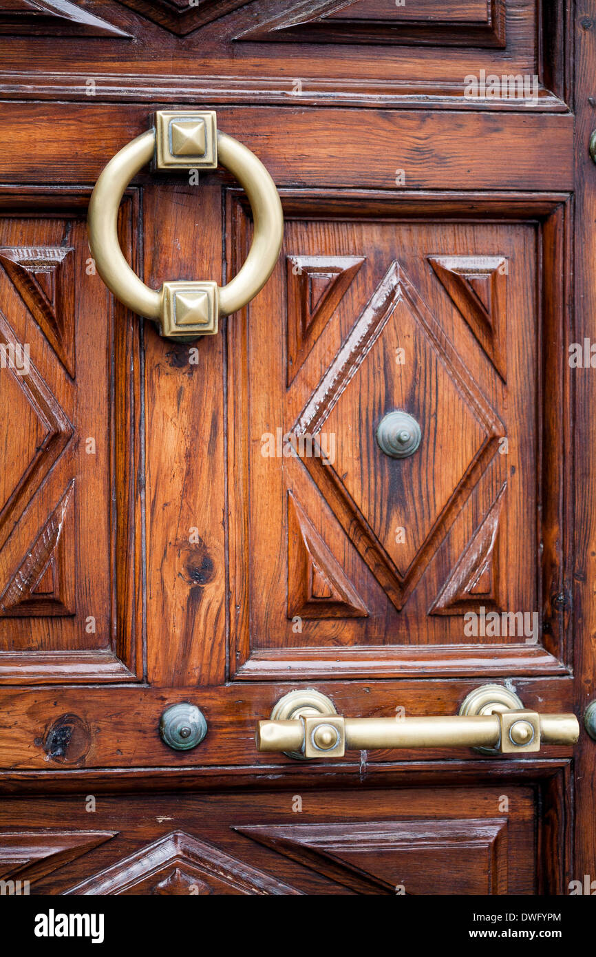 Heavy wooden door and heavy door knocker La Palma Canary Island ...