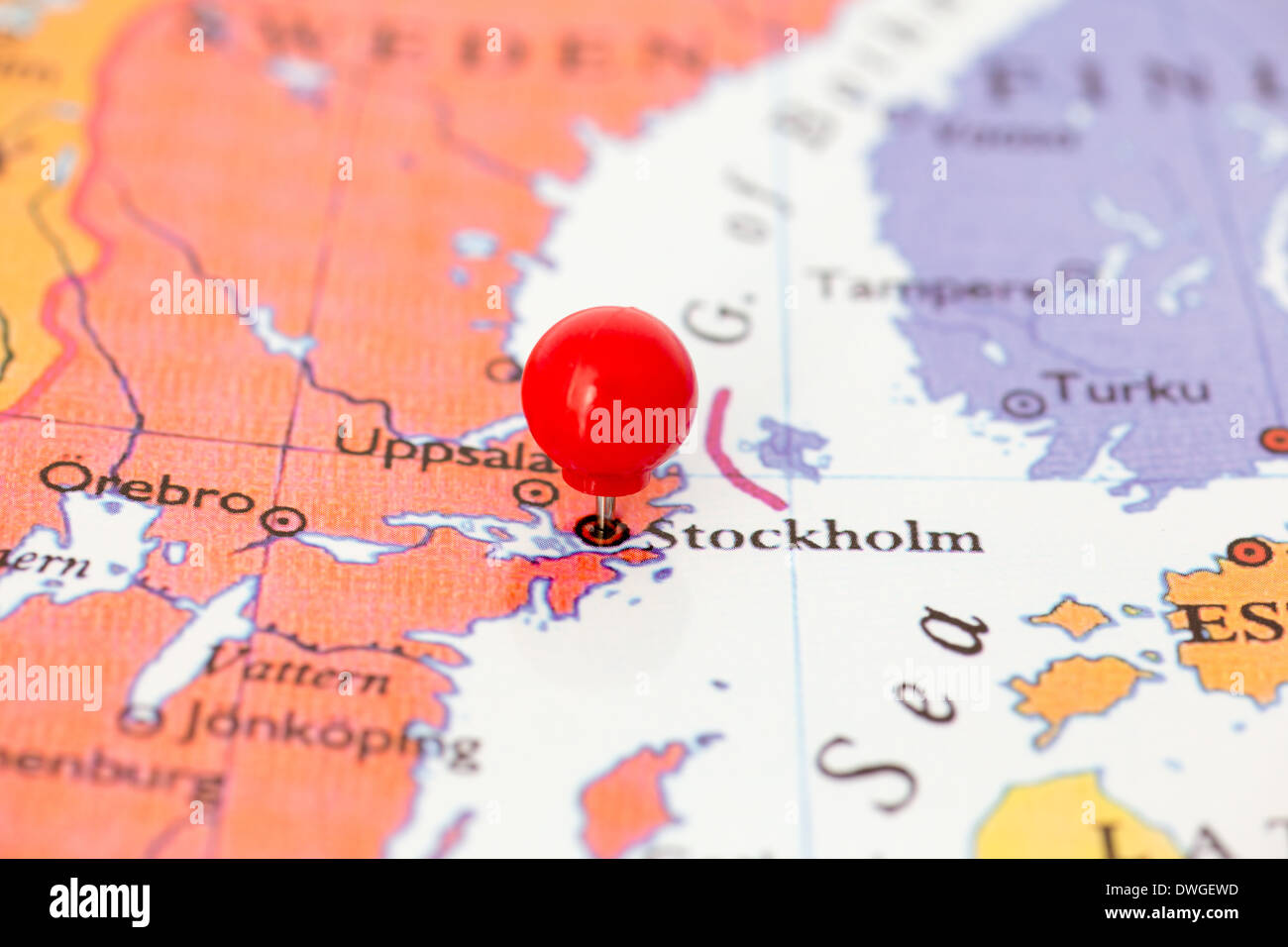 Round Red Thumb Tack Pinched Through City Of Stockholm On Sweden - Sweden map search