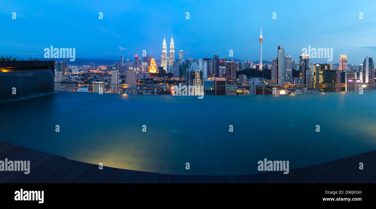 Kuala Lumpur Skyline From A Rooftop Swimming Pool Malaysia Stock Photo Royalty Free Image