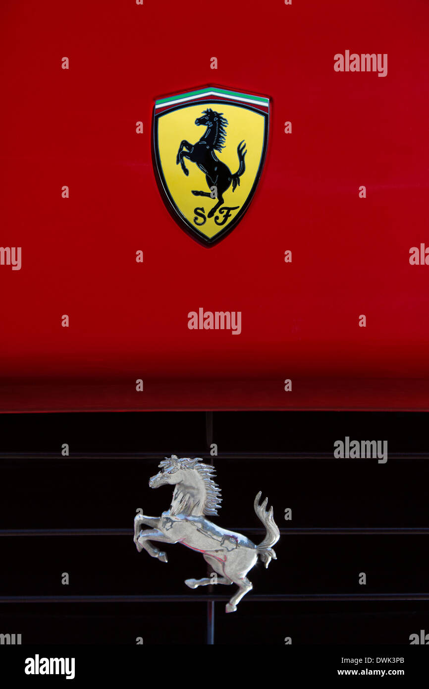 Ferrari prancing horse symbol on the front of a ferrari sports car ferrari prancing horse symbol on the front of a ferrari sports car buycottarizona Choice Image