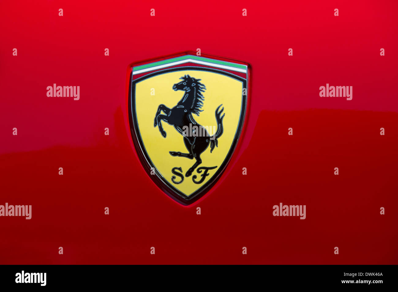Prancing horse ferrari badge on red car stock photo 125798433 alamy ferrari prancing horse symbol on the front of a ferrari sports car stock buycottarizona Choice Image