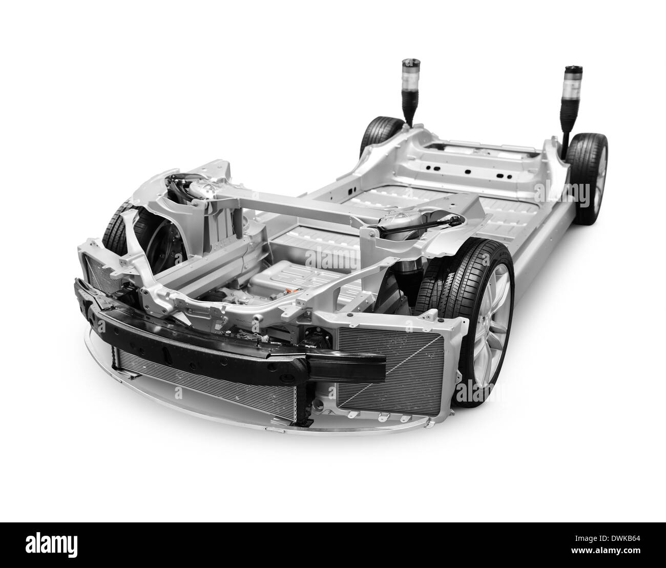 Design of car frame - Chassis Base Frame Of 2014 Tesla Model S Luxury Electric Car Isolated On White Background