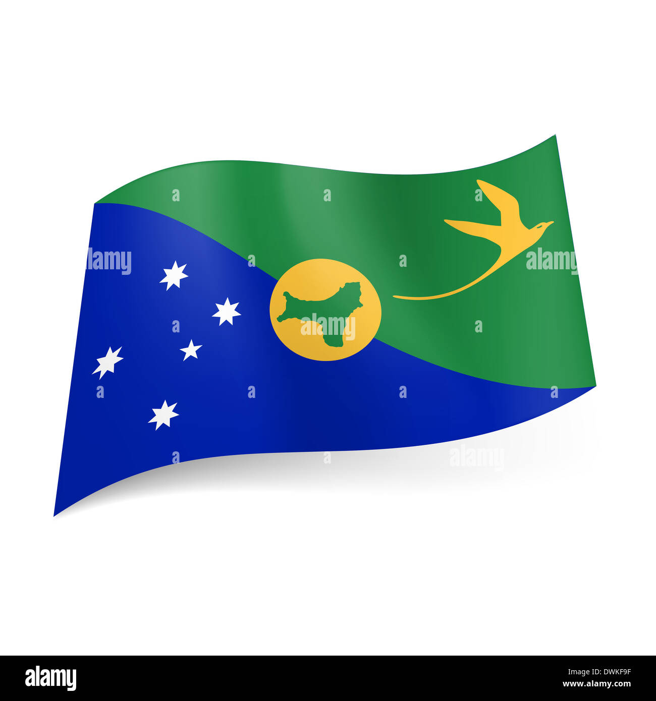 National flag of christmas island blue and green diagonal fields national flag of christmas island blue and green diagonal fields with white stars and blue bird island shape in centre sciox Choice Image