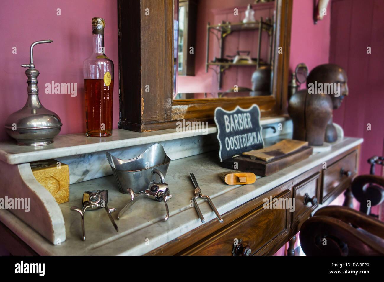 interior of old barber 39 s shop showing manual beard. Black Bedroom Furniture Sets. Home Design Ideas