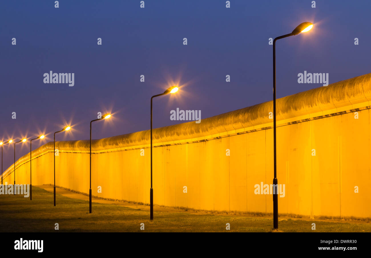 Prison Fence At Night