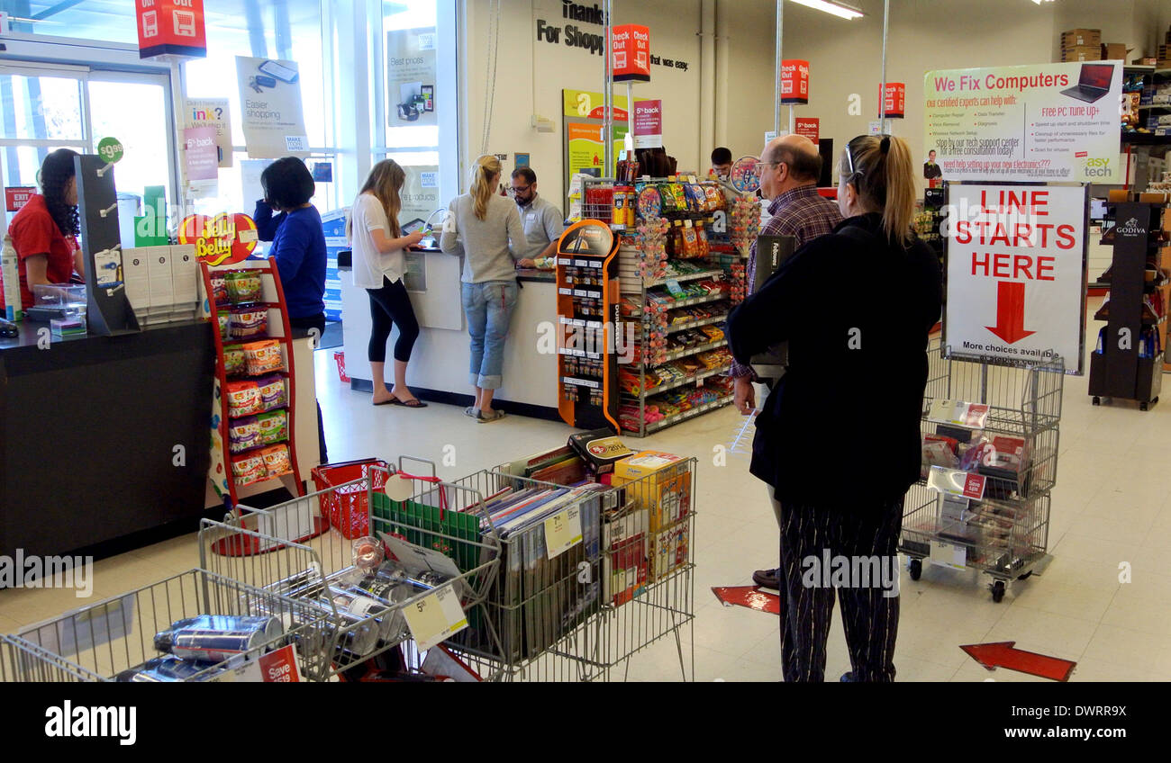 Nice Customers Wait In Line In Staples Store For Office Supplies In San Rafael  California