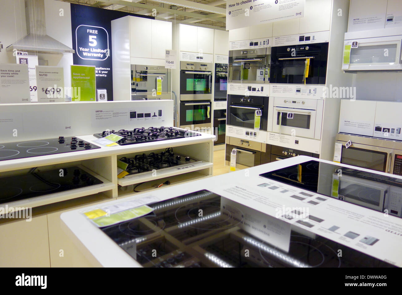 kitchen appliances at an ikea store in toronto, canada stock photo