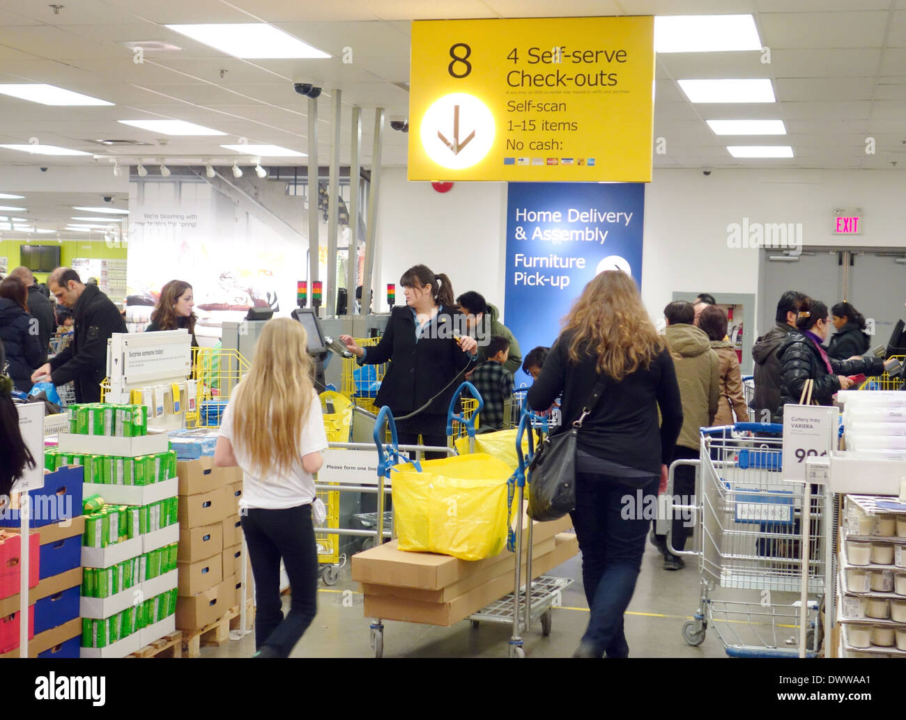 people checking out at an ikea store in toronto canada stock photo royalty free image. Black Bedroom Furniture Sets. Home Design Ideas