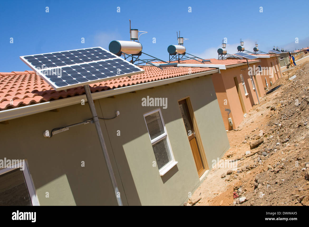 Cost to install solar panels on roof - Solar Panels Are Installed On The Roofs Of The Low Cost Housing Development In Kleinmond
