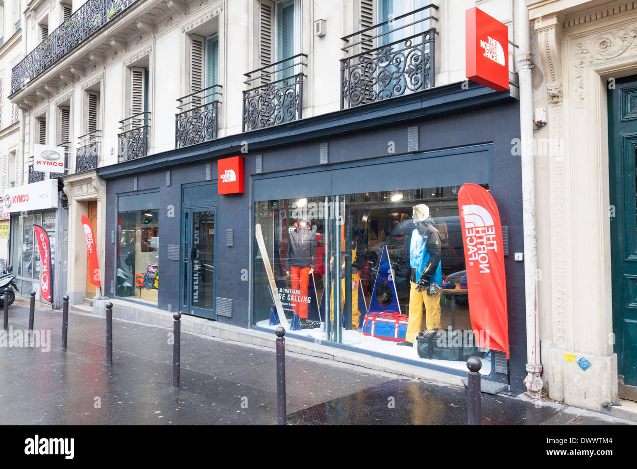 exterior of the north face store on boulevard beaumarchais paris stock photo royalty free. Black Bedroom Furniture Sets. Home Design Ideas