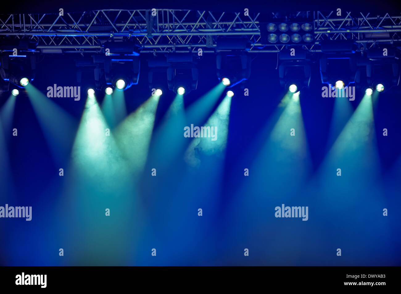 Empty outdoor rock stage - Spotlights And Illumination Equipment With Fog On Stage Background Stock Image