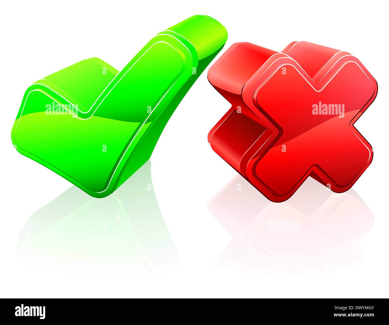Tick and cross concept of 3d red cross and green tick icons stock tick and cross concept of 3d red cross and green tick icons biocorpaavc Images