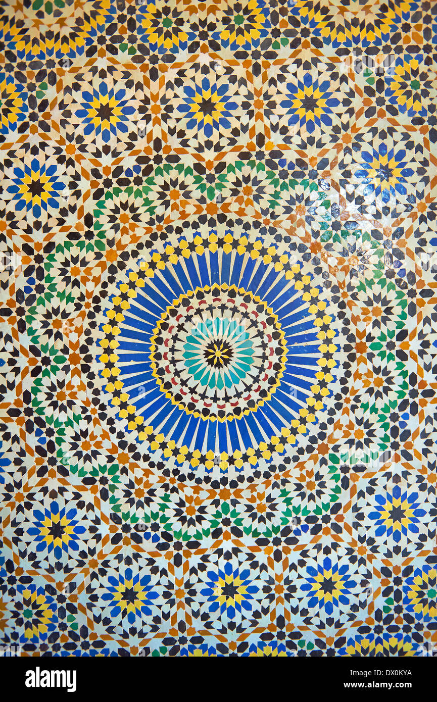 berber zellige decorative tiles inside the riad of the kasbah telouet atlas mountains morocco - Decorative Tiles