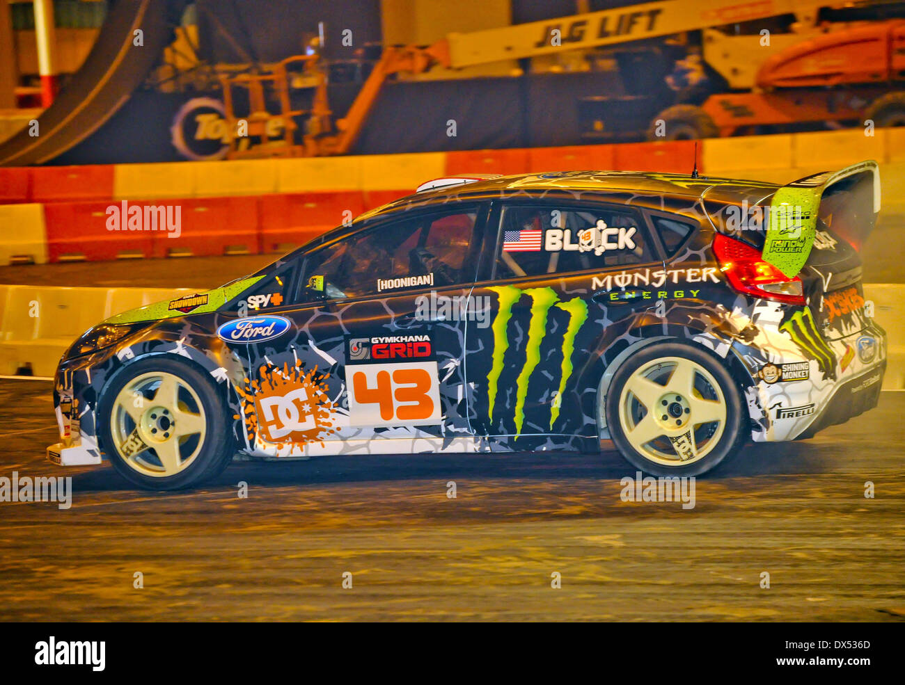 Rally driver Ken Block performs a routine in his Monster World Rally ...