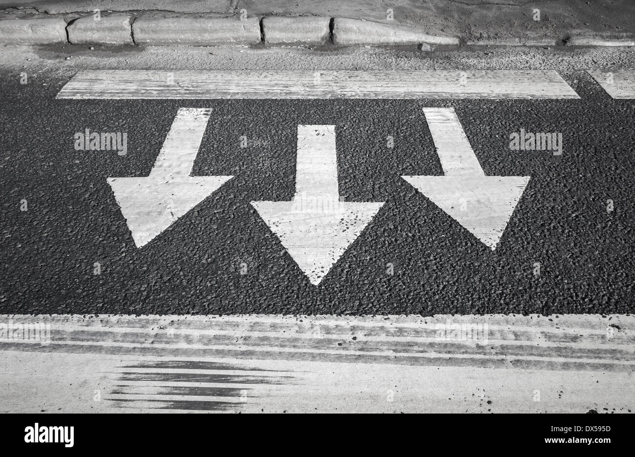 Pedestrian crossing road marking. Arrows and lines on ...