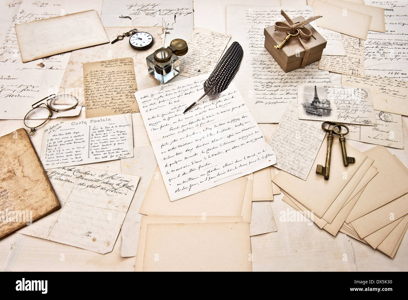 Scrapbook paper books - Antique Accessories Old Letters Open Diary Book And Vintage Ink Pen Nostalgic Sentimental