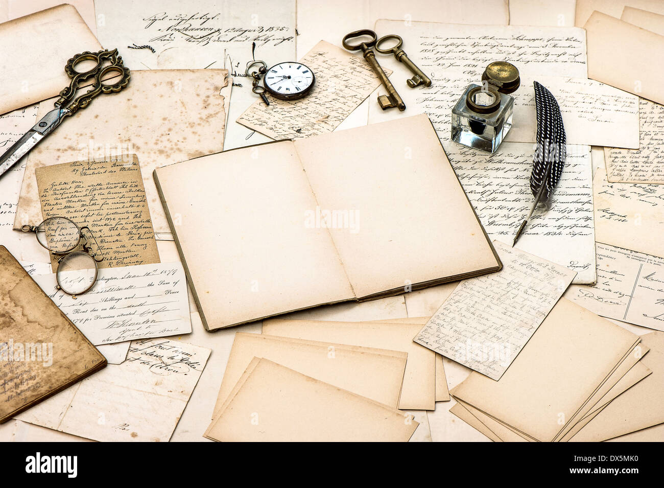 Scrapbook paper books - Stock Photo Antique Accessories Old Letters Open Diary Book And Vintage Ink Pen Nostalgic Sentimental Scrapbook Paper Background