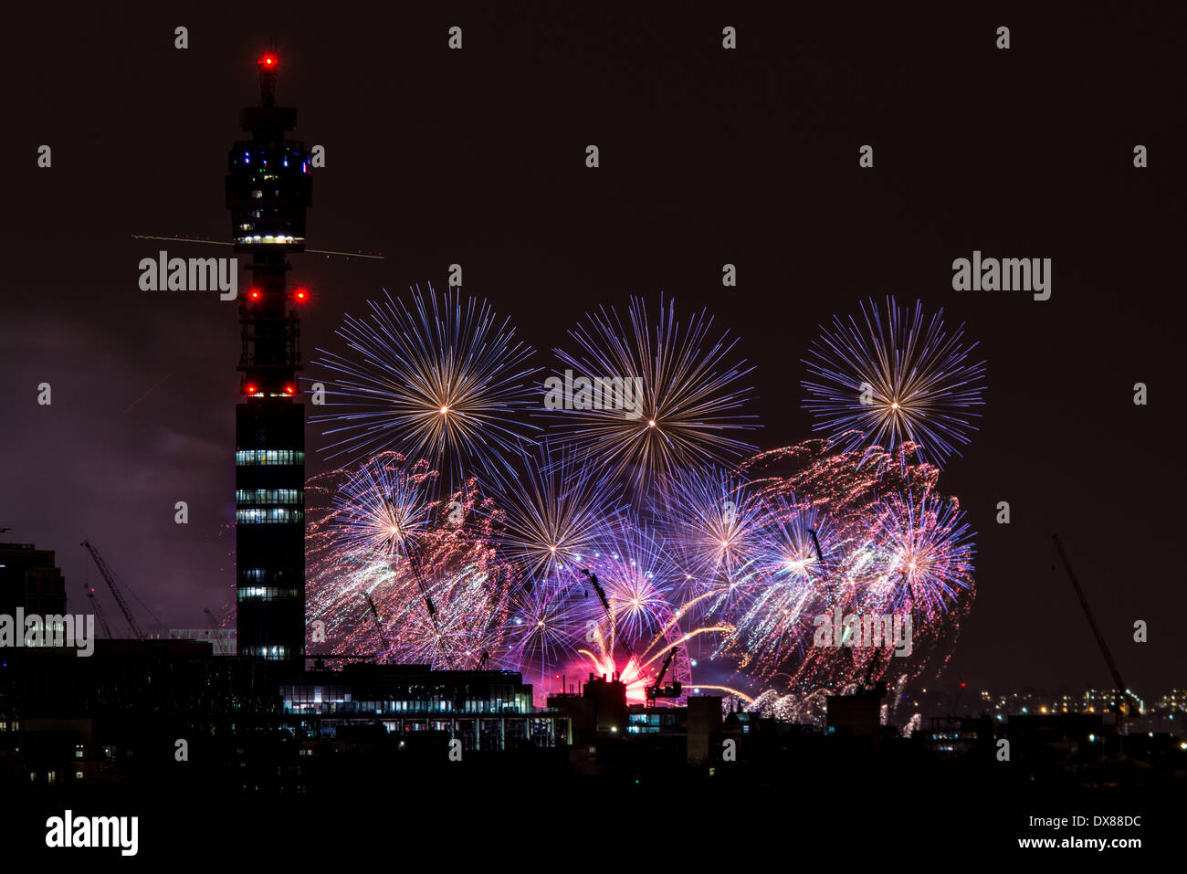 BT Tower and the London Eye viewed at night from Primrose ...