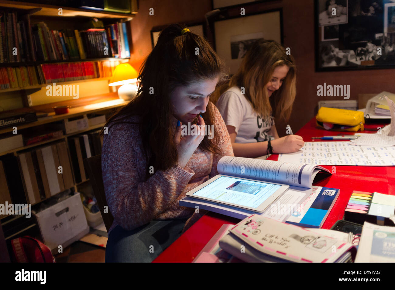Teenage Girls - Sisters - Doing Writing Their School College ...