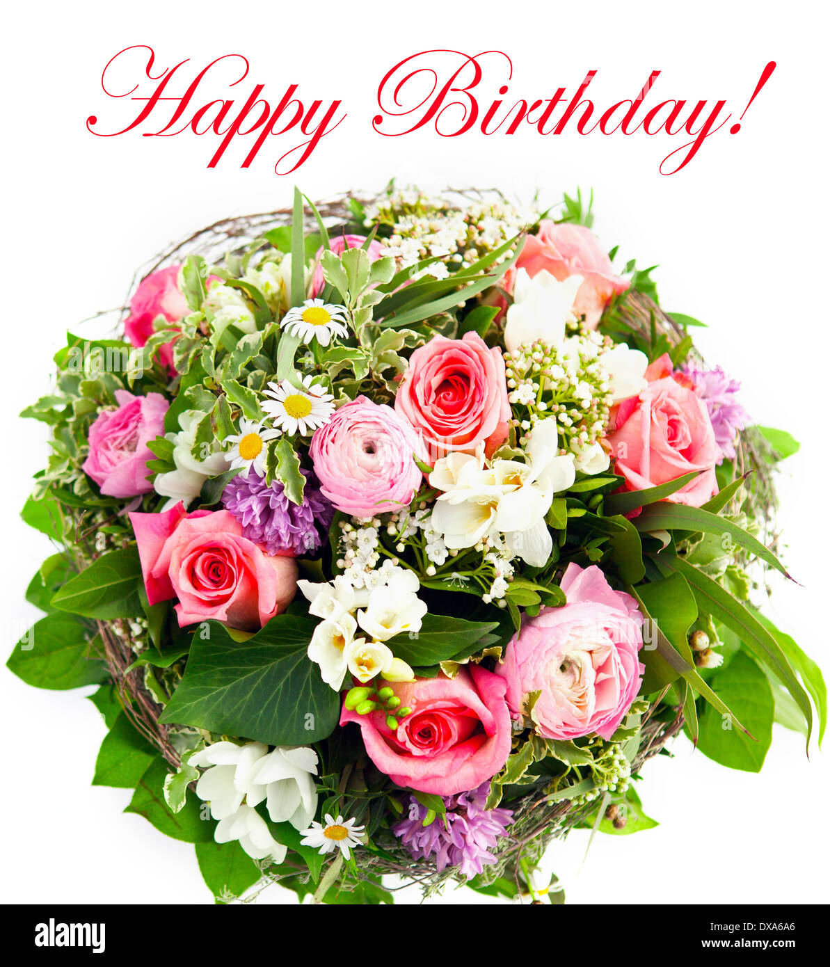 happy birthday colorful spring flowers bouquet stock photo