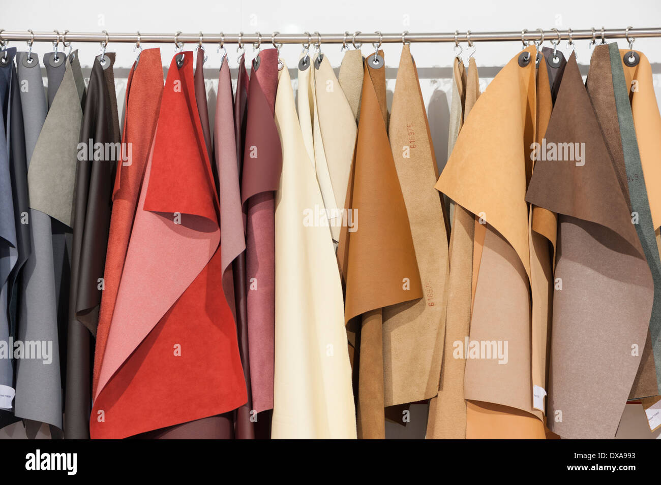 Car interior hanging - Many Different Leather Samples To Be Chosen From For Individual Car Interior Designs Are Hanging On A Rack At Zurich Motor Show