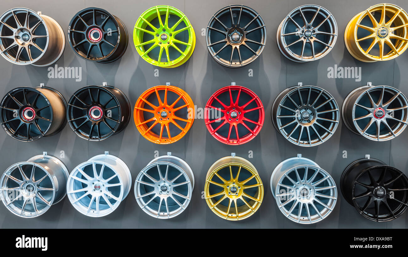 Many Colored Alloy Rims Are Hanging On A Wall At The Car Part And Tuning Section Of Zurich Motor Show Switzerland