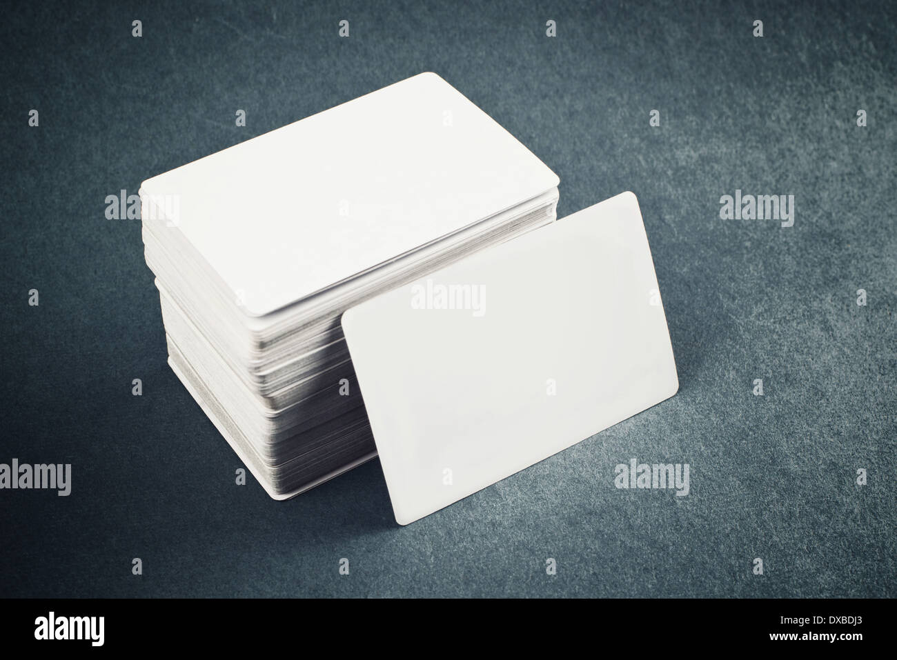 Blank Business cards with rounded corners on office table Stock ...
